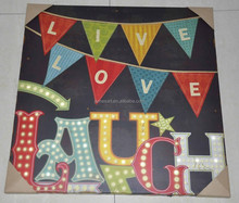 Garden decoration china wholesale live love laugh printing art on canvas with led lights