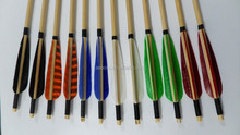 2015 hottest selling Craftsmans Handmade colorful Wood Arrow Archery Turkey Feathers Wood arrow