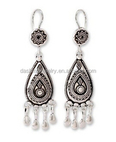 Sterling silver vintage Traditional cultural chandelier with pearl earrings from india