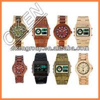 Big face square wooden watches double quartz movement wood watch
