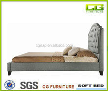 Modern Simple Button King design grey colour fabric buttom curve headboard Queen size Platform leather Bed