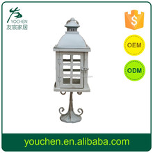 White Classical romantic wood hurricane candle holder lantern