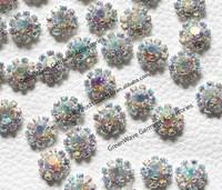 fashion ab crystal flower rhinestone applique metal base glue-on 0.95cm round small stone for birdal shoes sunglasses decoration