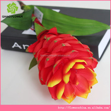 Custome artificial flower Ginger flower with red blooming flower for balcony decor