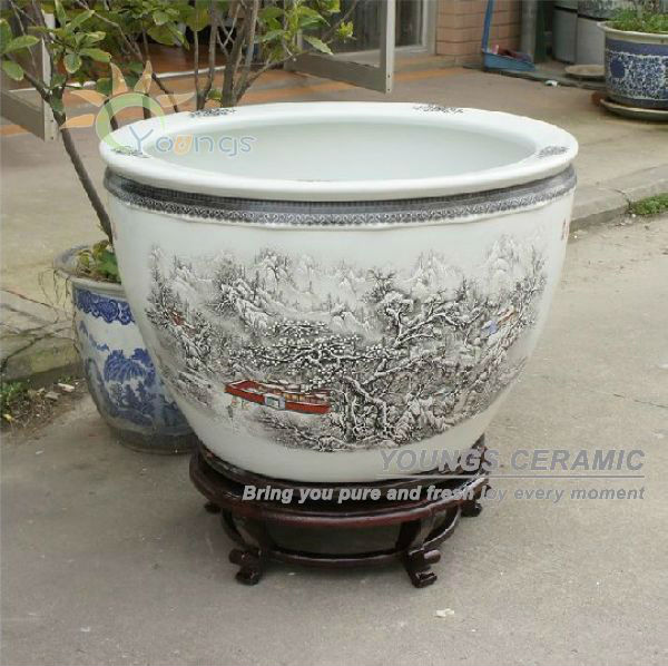 sale large chinease snow ceramic plant pots for indoor and planting