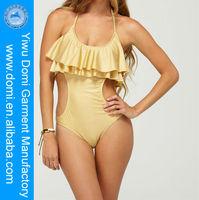 Domi one piece with metallic shiny and ruffle tiers style hot girls photos swimwear