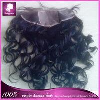 silk base frontal 6a loose wave Unprocess Virgin human Hair Natural Black 13x4 Lace Front Closure for women