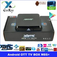 Factory Supply XBMC Kodi Pre-installed M8S+ Android TV Box Amlogic S812 Quad Core 2.0GHz 2G 8G Gigabit LAN HD 4K*2K Set Top Box