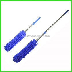 Telescopic chenille car cleaning duster with long handle