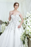 Luxury bridal gowns designs RW1523 crystal beaded cap sleeve ball gown bling wedding dresses 2015 new arrival with long train