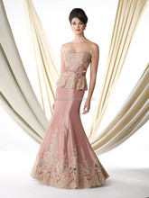 Elegant Mother Of The Bride Dress V-Neck Party Gown Appliques Long Evening Dress 2015 Beaded Trumpet Couture Formal Gown XP-73