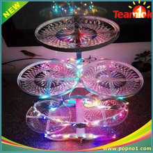 Romantic acrylic crystal 5 Tiers Round Cake Stands For Wedding party with led light
