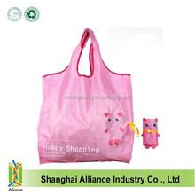 Custom Pink Cute Animal Cartoon Reusable Foldable Shopping Bag