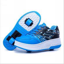 Las zapatillas de deporte 2015 de rodillos Nueva Rueda Doble Skate Zapatillas Botón Invisible Children Zapatos envío libre