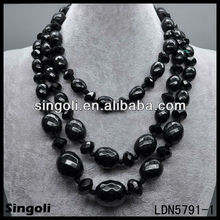 multiply black bead necklace set