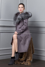 Russia Winter 2015 New Style Woman PU Long Coat with Fox Fur
