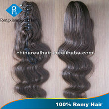 Wholesale Cheap Body Wave Hair 100% claw clip ponytail human hair extension