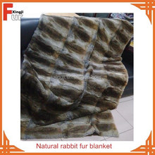 Chinese factory real rabbit fur throw