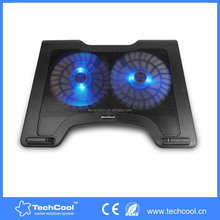 """dual 12CM big fan stand cooler with big air flow 15.6""""cooler with blue LED lights sign USB line connect directly easy to use"""