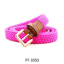 Super Popular Girls Solid Color 20mm Cotton Braided Belts