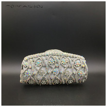 2015 Factory Hot sale silver wedding clutch bag luxury hollow out clear crystal clutch wallet for women