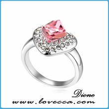 Crystal accessories rings charming rhodium plated with high polished rings