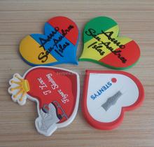 3d soft pvc rubber mixed artificial heart shape refrigerator magnets decoration