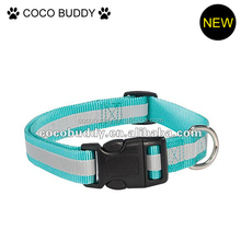 Blue color with reflective strip dog collar nylon dog collar and leash for pet dog protection