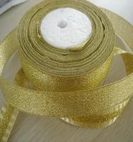 """Top popular 5/8"""" 15mm Silver and gold Metallic Ribbon 60% polyamide 40% metallic"""