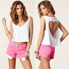 Top Selling 2015 Women's Sleeveless Back Heart-shaped Hollow Out Sexy Tank Tops Summer Shirt / Blouse