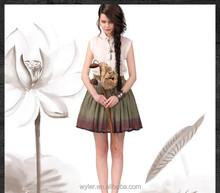 2015 Summer New Women Embroidery Gradient Color Tassels Trimmed Cotton Short Skirt