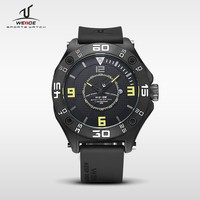 Weide UV1502 sport wrist watch silicone, stainless steel back water resistant, thin rubber sport watch