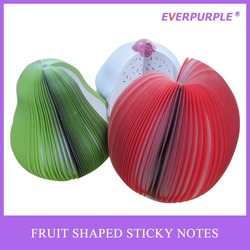 cute fruit shaped self-adhesive sticky notes,apple pear cake customized shaped memo pad
