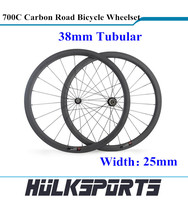 Wholesale 38mm Tubular Road bicycle Wheels 700C Full Carbon fiber Bicycle Wheelset 25mm Width of Carbon Bicycle Wheels