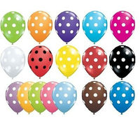 """Pack of 6 Qualatex 11"""" Polka Dot Party Balloons (Helium or Air)"""