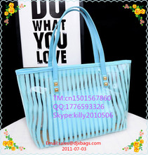 Clear Beach Tote Bags Large Stripe PVC Swim Shoulder Bag with Interior Pocket