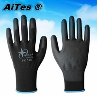 Free shipping 13 Gauge knitted nylon coated black pu gloves/working pu glove/safety glove