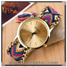 Good price & top quality hand made woolen fabric strap water resistant watches
