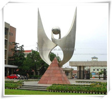 Large Modern Stainless Steel Flying Wings Sculpture School Decoration