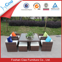 Colored square glass dining table tops garden plastic rattan furniture