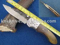 high carbon steel handmade pocket knife with buffalo horn handle