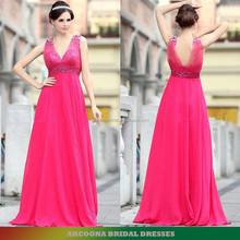 Beaded straps V neck sleeveless pink evening dress