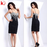 Sexy bling sequins short formal dress ruffle black dinner dress for party