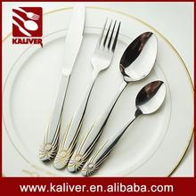 Luxury gold cutlery set stainless steel flatware western style hotel restaurant fork spoon wholesale