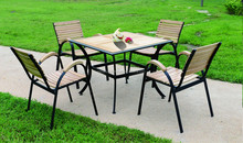 Hot sale courtyard Outdoor wood dining table set Furniture C606+T801