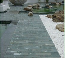 chinese natural high quality durable green slate floor tile and pavers with ISO quality certificate