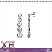 Solid Silver Jewelry Cubic Zirconia Journey Dangle Earrings