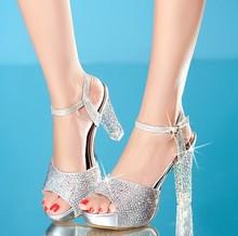M40195C 2015 Summer new fashion diamond ladies high heel sandal shoes