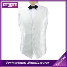 Fashion 100% Silk mens white waistcoat vest