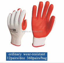 Palm Rubber gloves/ safety gloves/ rubber coated cotton glove/ latex rubber glove